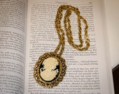 Jane Austen/ Regency Victorian Edwardian Style Lady Cameo Necklace: Black and Cream Color