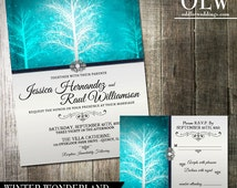 Winter Wonderland Wedding Invitation & RSVP Stationery Suite -Digital Printable -Vibrant Blue  and pearl wedding colors