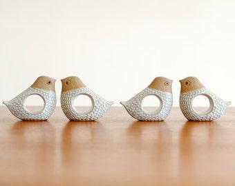 Vintage Set of 4 Mod Bird Napkin Rings Stoneware Pottery - Mid Century