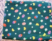 Easter Print on Green Plaid Cotton Fabric -- 2 Yards Available