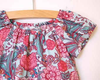 Girls Peasant Dress / Turquoise and Coral Floral Cotton /  2T / Ready to Ship