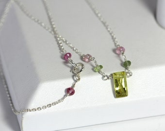 dainty tourmaline layering necklace | canary yellow cubic zirconia baguette | pastel gemstone sterling silver chain | handmade by girlthree