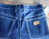 Women's vintage high waisted dark blue jeans with white top stitching, square pockets / new old stock /  30 waist / 34 inseam