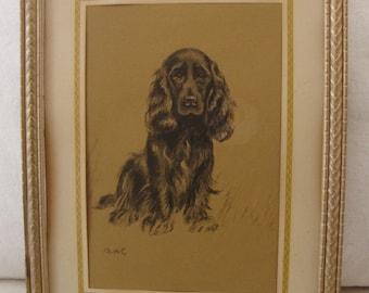 Vintage Dog Picture Dog Sketch Dog Charcoal Cocker Spaniel Print Original Black Gold Frame Small Artwork