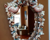 Home Decor - Shield Shaped SEASHELL  MIRROR With White CORAL & Coquina Sand