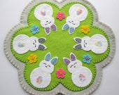 PDF PATTERN: Easter Penny Rug Wool Applique sewing tutorial - Bunny Rabbits felt DIY Spring Decoration - Holiday accessory