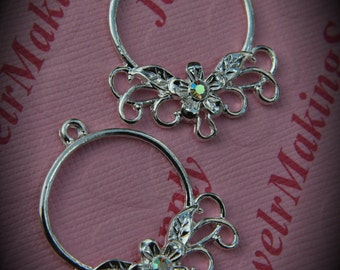 Genuine Silver Plated Swarovski Crystal Round Chandelier Earrings In Clear AB