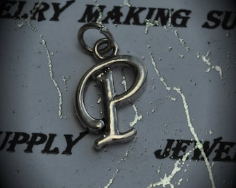 Letter P Sterling Silver Plated Charm