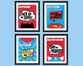 Superhero Children's Rules Bedroom Art Prints - Set of 4 - Kid's DIY Printable Instant Download