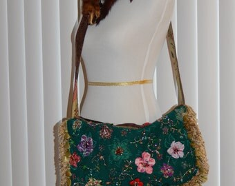 Green Azure Beaded Purse Statement Piece Encrusted With Crystals