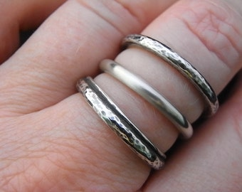 Three Sterling silver Hammered textured Stacking rings - Handmade - size  7.5 to 8 - Ooak - Not cast