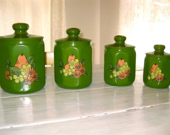 1970s  Avocado Green Pear and Grapes Theme, 4 Piece Canister Set  Made In the U.S.A.