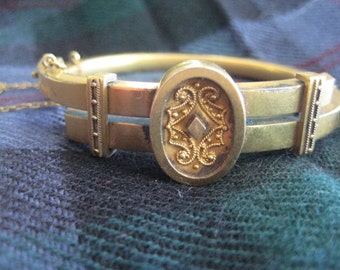 Victorian Gold Filled Bangle, Hinged with Safety Chain