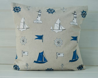 Nautical Seaside Cushion Cover -   Lighthouse Sail Boats - Size 16ins - Made in the UK