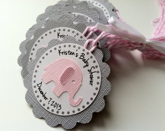 20 Grey and Pink Elephant Personalized Tags with Pink Bakers Twine.  Baby Shower or Birthday Party Favor Gift Tags.