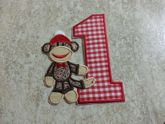Girl Sock Monkey Birthday Number Iron on embroidered fabric applique- Pick your number