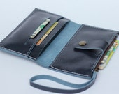 Leather iPhone Wallet with zipper pocket in Gray Blue - Backside card slot (For iPhone4/4s, iPhone5/5s)