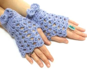 Fingerless Gloves, Lilac, Crochet fingerless gloves, Tie Gloves, Perforated Pattern, Crochet tie, Boho glove mittens, Spring gloves