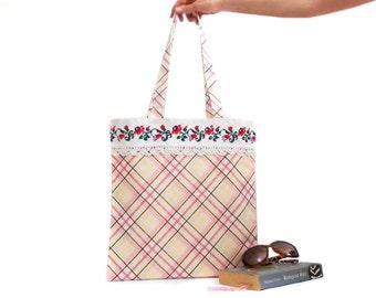 Plaid cotton summer bag, cross stitch bag, handmade tote bag, salmon pink, Shoulder bag, Cotton Purse, Vintage Style bag