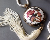 Cloisonné Butterfly Necklace - Summer Garden - White Braided Cord - 1980s Jewelry