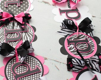 Happy Birthday Banner Pink, Black, White, Zebra, Polka Dot
