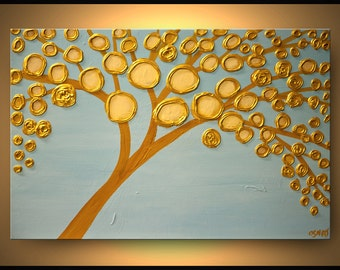 ORIGINAL Painting Contemporary Gold Bloom Acrylic Painting Heavy Palette Knife Texture by Osnat