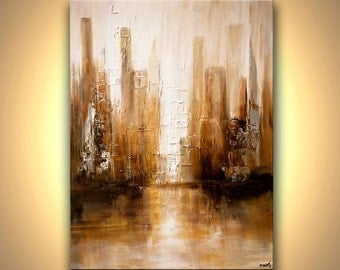 """Downtown City Painting Modern Acrylic Palette Knife Abstract Painting White by Osnat 40"""" x 30""""  - MADE-TO-ORDER"""
