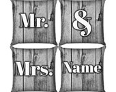 Mr. & Mrs. Pillow Set in Wood Black and White