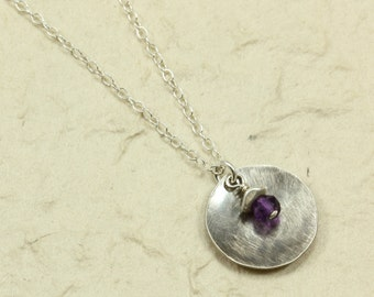 Hammered Silver / Amethyst Necklace with Sterling Silver Chain, Hammered Silver Necklace, Amethyst Necklace, Oxidized Silver, Chain Necklace