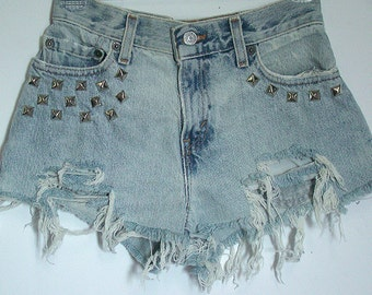 Heavily Distressed Studded High Waisted Shorts