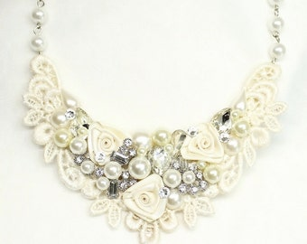 Bridal Statement Necklace- Vintage-Inspired Wedding Jewelry- Lace and Pearl Statement Necklace- Bridal Bib Necklace-Pearls and Rhinestones