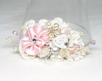 Pink Bridal Comb- Wedding Comb- Bridal Hairpiece- Hair Accessories- Wedding Hairpiece- Soft Pink Comb- Ivory Bridal Comb- Pearl Hairpiece