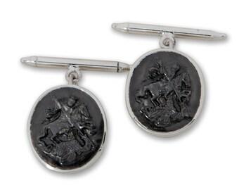 Saint George Cufflinks Hand Carved Black Onyx Regnas Sterling Silver 925
