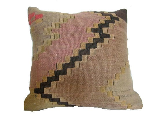 USA based shop/Vintage Turkish Kilim Pillow Cover/16x16/Delivered in 3 days with tracking number