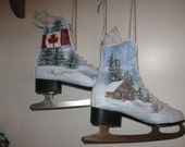 Hand-painted Upcycled Canadian Ice Skates ON SALE