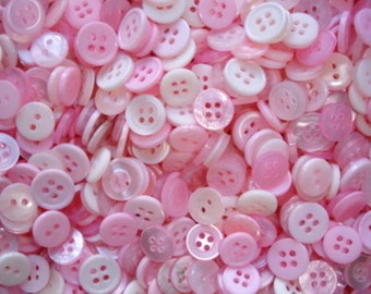"100 Small Pretty Princess Buttons - Pink, Light Pink, Carnation Pink, White, Cream, bulk buttons in assorted small sizes 1/8"" up to 5/8"""