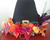 Pilgrim hat, Thanksgiving, fall, centerpiece, decoration, pumpkin, flowers, feather