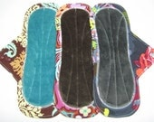 """10"""" OBV or Minky Cloth Menstrual Pads / Mama Cloth / Incontinence Pads - Set of 3 - Customize Your Flow Level, Backing and Fabrics"""