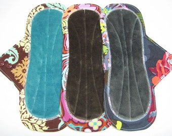 "10"" OBV or Minky Cloth Menstrual Pads / Mama Cloth / Incontinence Pads - Set of 3 - Customize Your Flow Level, Backing and Fabrics"