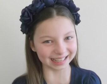 Navy Blue Headband, Bridesmaids hair accessories, navy blue flowers with fresh water pearls, Flower girls Gift, Weddings, Something Blue