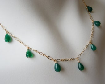 Adjustable Necklace: Emerald Green Onyx 14K Gold Filled