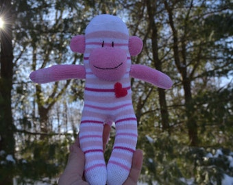 sock monkey,  FREE HEART or MONOGRAM patch, sock monkey doll, sock monkey dolls, pink sock monkey, big sister, sock monkey plush