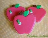 Apple and Bookworm Sugar Cookies - 1 Dozen