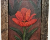 Tulip Flower Painting, Framed Art, Primitive Country Wall Decor, Original Acrylic in Barn Wood Frame