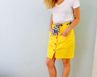 Vintage Bright Yellow Jean Pencil Skirt Neon Yellow Skirt 90s