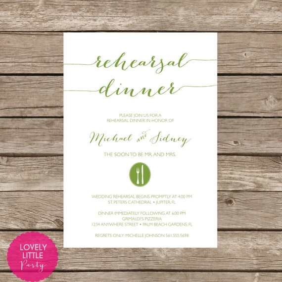Sidney Collection Rehearsal Dinner Invitation DIY Printable -  Lovely Little Party