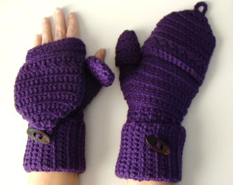Purple Mittens, Plum Convertible Fingerless Mittens, Texting Mittens, Double Cuff Mittens, Crochet Gloves, Texting Gloves, Winter Fashion