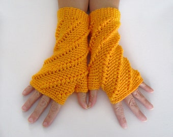 Fingerless Mittens, Mango Orange Open Mitts, Crochet Wrist Warmer, Open Gloves, Mango Orange Mittens, Texting Mittens, Orange Wrist Warmers