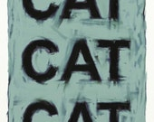 Cat cat cat Print download Text based painting for cat lovers Soft gentle simple abstract art in pale blue grey colours with dark lettering