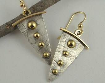 Dangle Silver Earrings - Mixed Metal Earrings - Artisan Metalwork Jewelry